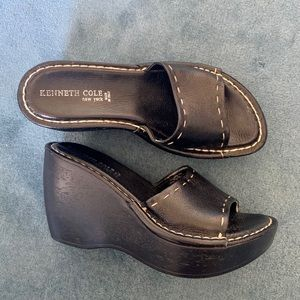 Kenneth Cole Black Leather Mule Size 7
